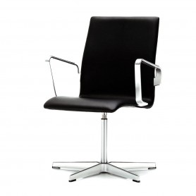 [Fritz Hansen/프리츠한센] Oxford, black leather, low back, arm rests, rotatable