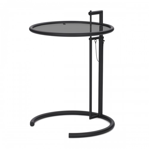 [ClassiCon/클래시콘] Adjustable Table E 1027 - Black , Smoked glass grey // 어드저스터블 테이블 E 1027 - 블랙, 스모크유리