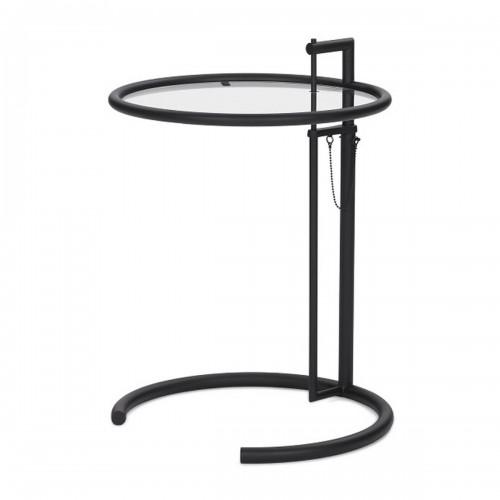 [ClassiCon/클래시콘] Adjustable Table E 1027 - Black , Crystal Glass // 어드저스터블 테이블 E 1027 - 블랙, 투명유리