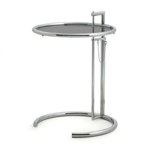 [ClassiCon/클래시콘] Adjustable Table E 1027 - Chrome, Smoked glass grey // 어드저스터블 테이블 E 1027 - 크롬, 스모크 유리