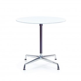 [Vitra/비트라] Contract table round, melamine white / chrome, basic dark // 콘트랙트 테이블 라운드, 멜라민 화이트 / 크롬, 베이직 다크