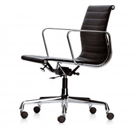 [Vitra/비트라] Alu-Chair EA 117, chrome, swivel, armrests, hopsak, black