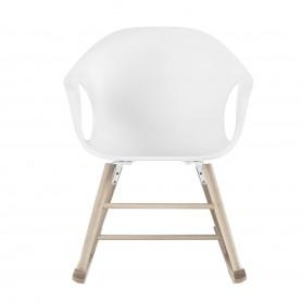 [Kristalia/크리스탈리아] Elephant rocking chair, white/oak // 엘리펀트 락킹 체어, 화이트/oak