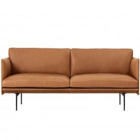 [Muuto/무토] Outline Sofa 2-seater, cognac silk leather / traffic black (RAL 9017) // 아웃라인 소파 2-시터, 코냑 실크 레더 / 트래픽 블랙 (RAL 9017)