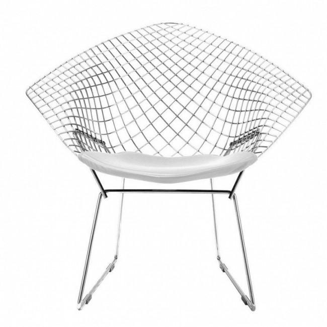 [Knoll/놀] Bertoia Diamond Easy Chair - Chrome / White Cushion // 베르토이아 다이아몬드 이지 체어 - 크롬 / 화이트 쿠션