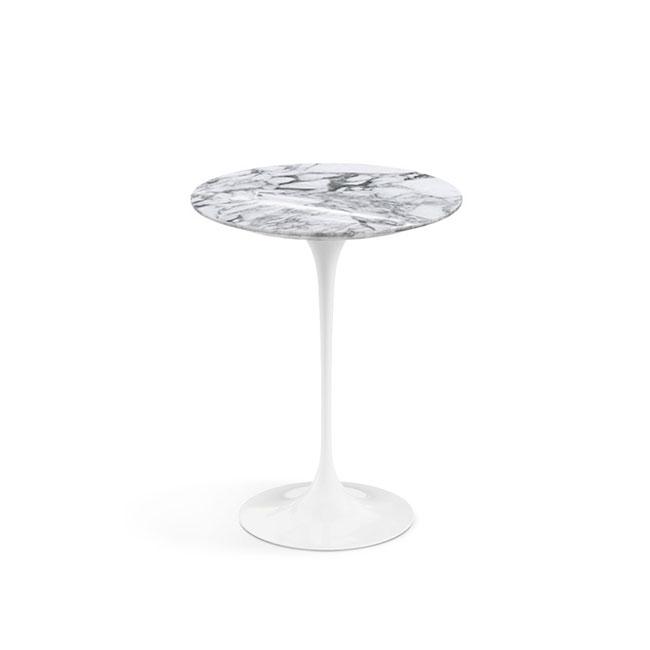 [Knoll/놀] Saarinen Side Table, Ø 41-Arabescato Shiny White // 사리넨 사이드 테이블, Ø 41-아라베스카토 샤이니 화이트