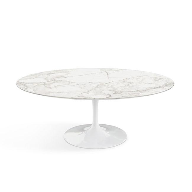 [Knoll/놀] Saarinen Coffee Table, Oval 107 x 70-Calacatta Shiny White // 사리넨 커피 테이블, 오벌 107 x 70-카라카타 샤이니 화이트