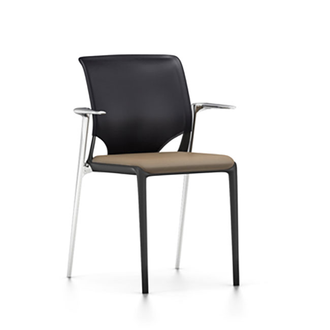 [Vitra/비트라] MedaSlim archair (chromed, Nava, black backrest) // 메다슬림 암체어 (크롬, Nava, 블랙 백레스트)