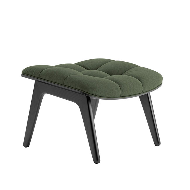 [NORR11] Mammoth Ottoman with Wool - Black Oak / Wool Forest Green 53