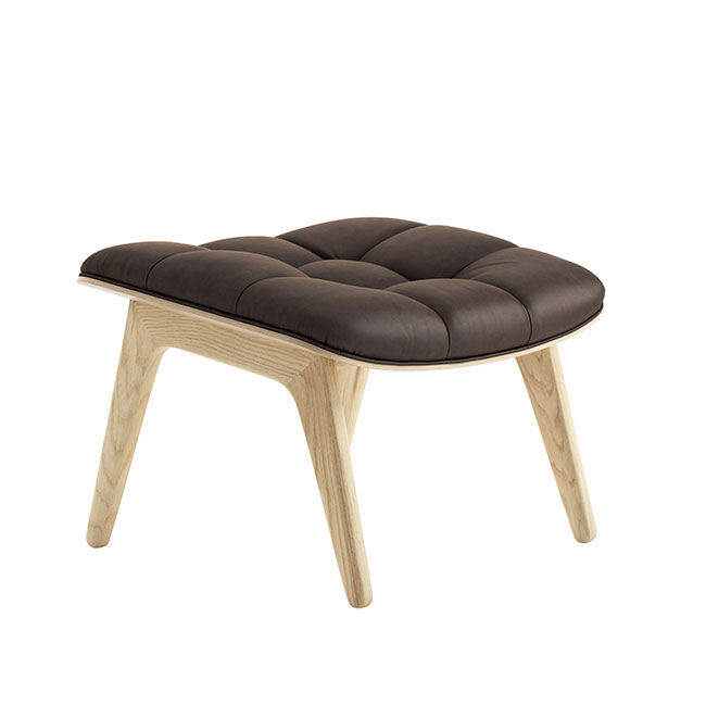 [NORR11] Mammoth Ottoman with Leather - Natural Oak / Dunes Dark Brown 21001