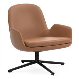 [Normann Copenhagen/노만코펜하겐] Era Lounge Chair Low Swivel Black Alu - Ultra Leather // 에라 라운지체어 로우 스위블 블랙 알루미늄 - Ultra Leather