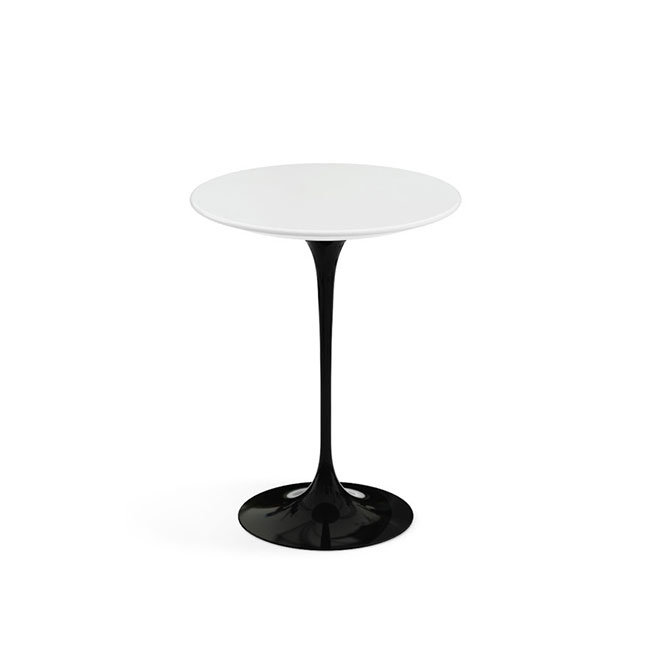 [Knoll/놀] Saarinen Side Table, Ø 51-White / Black Base // 사리넨 사이드 테이블, Ø 51-화이트 / 블랙 베이스