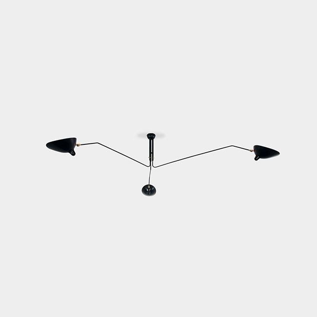 [Serge Mouille/세르주 무이] Ceiling lamp 3 rotating arms Black // 실링 램프 3 로테이팅 암 블랙