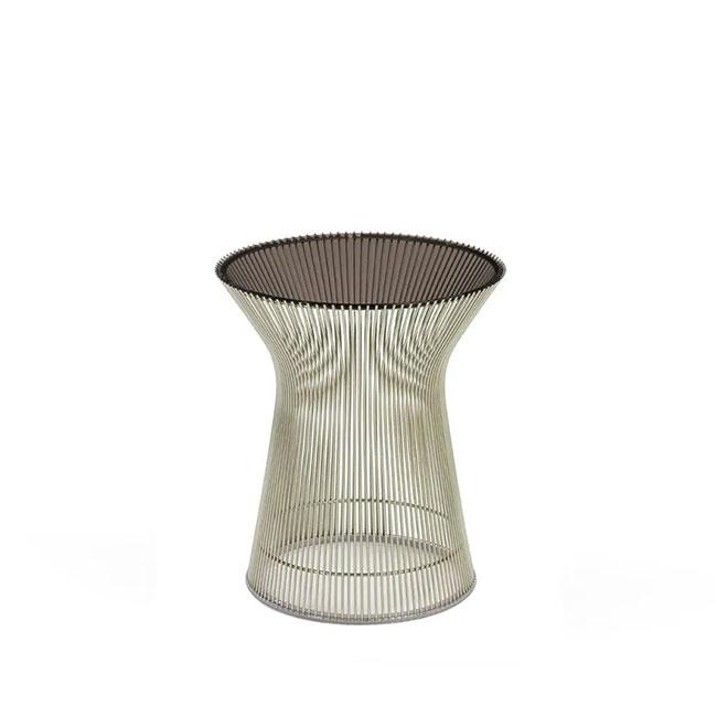 [Knoll/놀] Platner Side Table (ø40) - Polished Nickel & Bronze Glass // 플래트너 사이드 테이블 (ø40) - 폴리시 니켈 & 브론즈 글래스